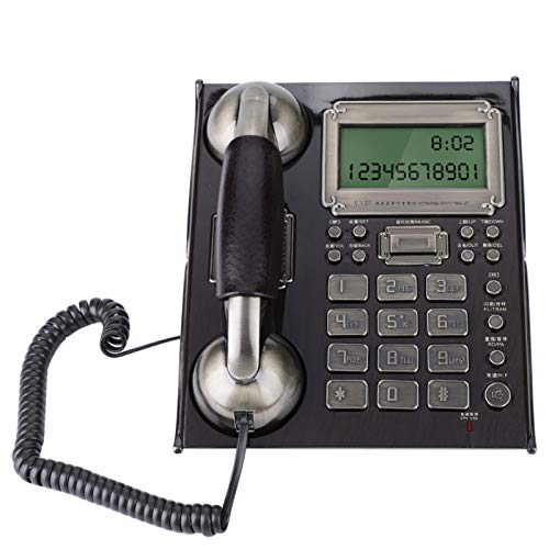 Demeras Teléfono Retro de Escritorio Teléfono Fijo de teléfono Vintage de Estilo Europeo para el hogar(Negro)