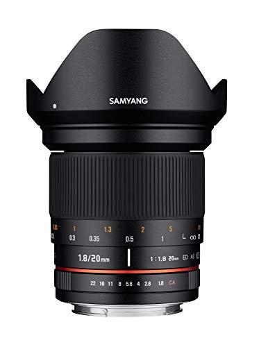Samyang 20/1,8 Objektiv DSLR Nikon F AE manueller Fokus automatischer Blendenring Fotoobjektiv, Weitwinkelobjektiv schwarz