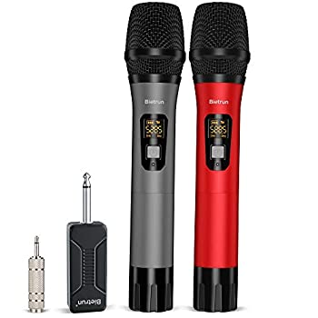Bietrun Wireless Microphone 160 ft Range UHF Metal Dual Handheld Dynamic Mic Karaoke System with Rechargeable Receiver 1/4''&1/8''Output for Amplifier PA System Party Singing Karaoke Church