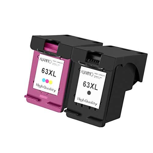Ersatztintenpatrone mit hoher Reichweite Tintenstrahldruckerpatronen für HP 63XL für Bürostrahldrucker Einfach zu bedienen Praktisch - Schwarz + Bunt