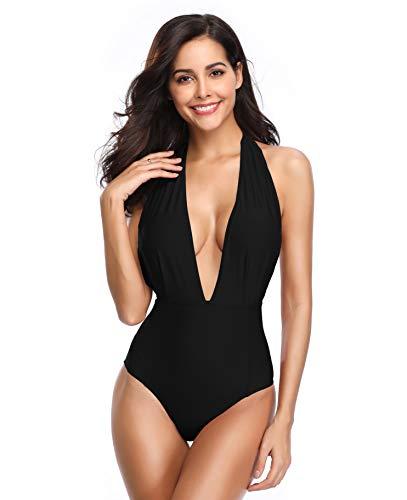 SHEKINI Women's Monokini Swimwear Deep V-Neck Plunge Backless High Waisted One Piece Swimsuit (Black, Medium)