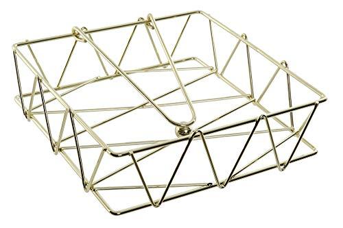 MGE - Serviettenhalter aus Metall - Quadratisch Serviettenständer mit Beschwerer - Golden - 18 x 18,5 x 5 cm