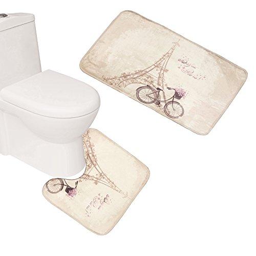 Bearbae Paris Decor Bonjour Paris - Juego de alfombrillas de baño (3 piezas), diseño de Torre Eiffel de París