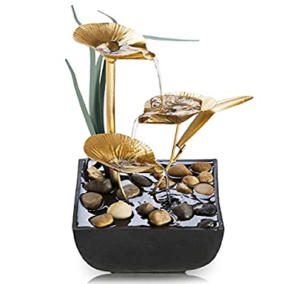 Tabletop Fountains Indoor Lotus Leaf Relaxation Fountains Tabletop Waterfall Decoration Fountain Includes Many Natural River Rocks and Colorful Scene Light