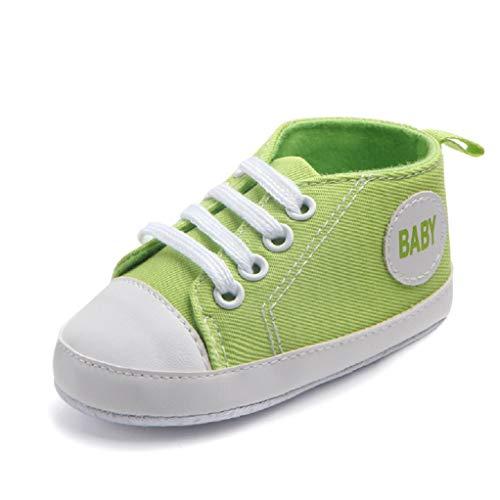 Babyschuhe Auxma Baby Schuhe Sneakers aus Leinwand mit weichen und rutschfesten Sohle Für 3-6 6-12 12-18 Monat (3-6 M, Grün)