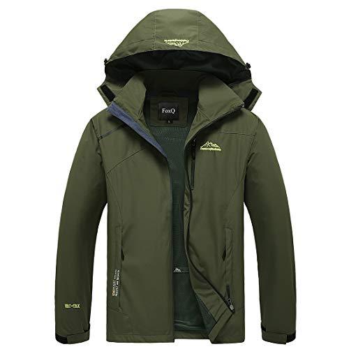 FoxQ Men's Lightweight Softshell Windbreaker Waterproof Rain Jacket Snowboard Outdoor Hiking Trench Coat (X-Small, B Army Green)