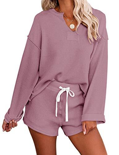 MEROKEETY Women's Long Sleeve Pajama Set Henley Knit Tops and Shorts Sleepwear Loungewear, Pink, XXL