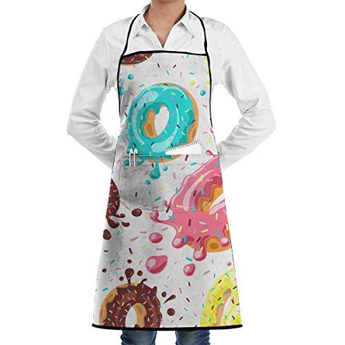 Donuts con Rosa, Chocolate, limón Divertido Delantal para Hornear Novedad Regalo de Chef de Cocina para Hombres - Mujeres Regalo para Hornear Barbacoa Delantal de Cocina