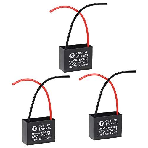 sourcing map Techo Ventilador Condensador CBB61 2.7uF 450V AC 2 Cables Metalizado Polipropileno Película Condensador 37x29x18mm para Eléctrico Ventilador Bomba Motor Generador 3uds