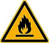 Aufkleber Warnzeichen Warnung vor feuergefährlichen Stoffen ASR/ISO W021 SL50mm 12 Stück