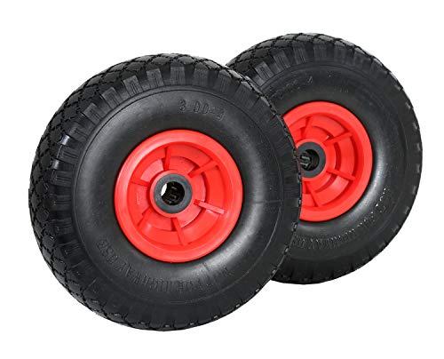 Frosal PU Rad Sackkarre 260 mm 3.00-4 | Nabe 20mm/60mm | Sackkarrenrad Vollgummi | Ersatzrad Bollerwagen pannensicher | Reifen (2 Stück)