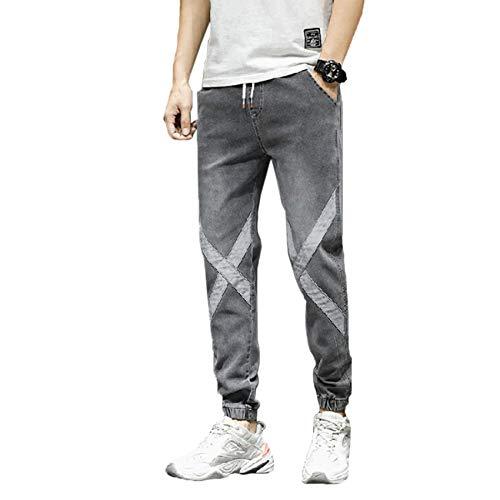Stretch Jeans versión Coreana de los Hombres de la Tendencia de Pantalones harén Holgados de Verano Overoles Finos explosión de Nueve Puntos