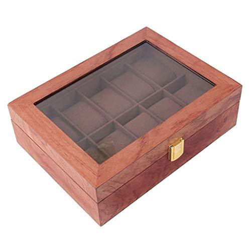 IPOTCH Holz Uhrenbox Uhrenkasten für 10 Uhren, Reise-Uhren-Display, Uhren mit herausnehmbaren Uhrenkissen und Glasdisplay für Schmuck, Uhren - Rotton