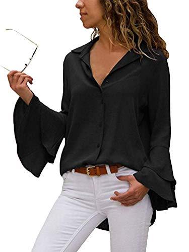 ShallGood Damen Chiffon Bluse 3/4 Arm Tunika Blusen V Ausschnitt Leicht Asymmetrisch Shirt mit Volant Trompetenärmeln Schwarz DE 40