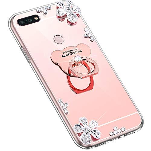 Uposao Kompatibel mit Huawei Honor 7C Hülle Glitzer Diamant Glänzend Strass Spiegel Mirror Handyhülle mit Handy Ring Ständer Schutzhülle Transparent TPU Silikon Hülle Tasche,Rose Gold