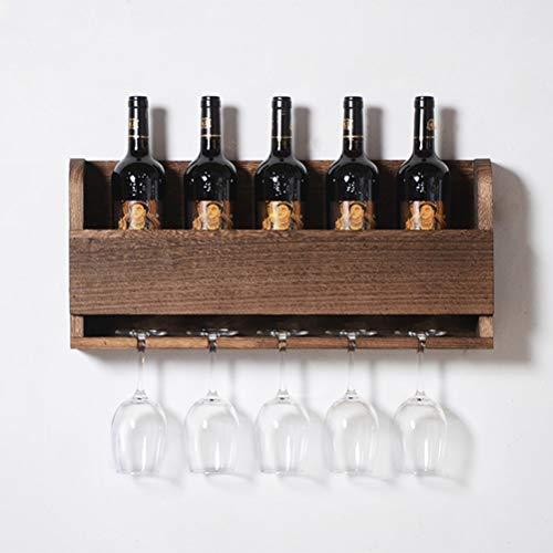 HAO SHOP Wijnrek voor wandmontage Rustiek Wijnrek Wijn Glas & Fles Display Rack, 2-in-1 Wijnservies, 24×10.5 Inch