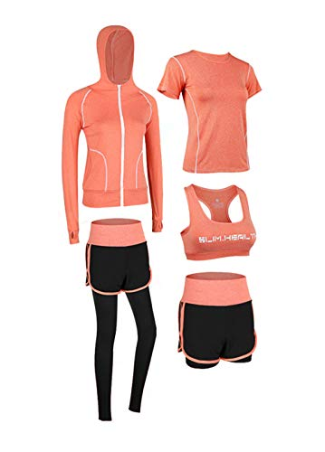 Uni-Wert Bekleidung Yoga Set, Damen Trainingsanzug Set Yoga Jogging Lauf Sportbekleidung Atmungsaktiv Schnell Trocknend Gym Fitness Outfit Sportsuit Strech Tights Training Sweatsuit 5 Stück Set