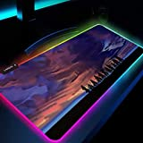 Mouse Pads Attack on Titan Anime RGB Mouse Pad Gaming Desk Pad Led Pads Mats with Backlight 24x12x0.15 inch