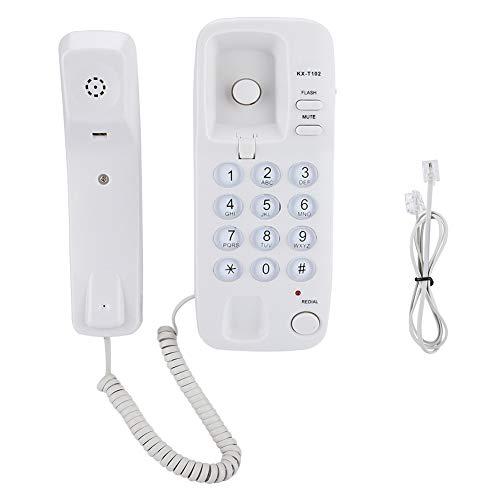 Teléfono con línea de manija, teléfono fijo portátil de montaje en pared, con función de flash y función de silencio de llamada, no requiere batería(blanco)