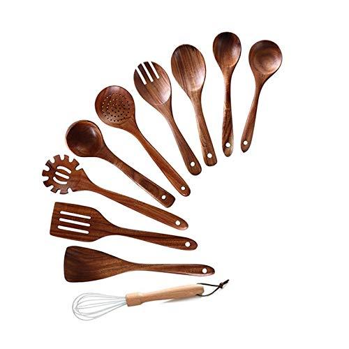 Andifany Utensilios de Cocina de Madera para Cocinar, 10 Piezas de Cucharas de Madera y EspáTula para Cucharas de Cocina y EspáTula, Uso DoméStico y Cocina