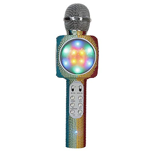 Wireless Express - Sing-Along Bling Bluetooth Karaoke Microphone and Bluetooth Stereo Speaker All-in-One … (Rainbow Bling)