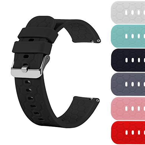 22mm Silicone Quick Release Watch Band Strap Compatible with Fossil Gen 5 Julianna, Q Wander/Founder/Marshal/Gen 4 Explorist HR Replacement Bands (Black)
