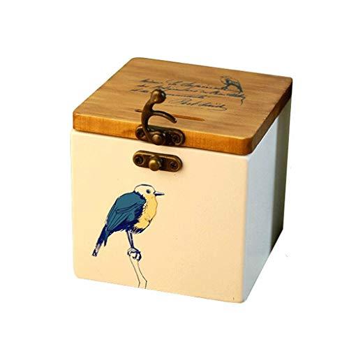 Caja de ahorro de dinero de grandes alcancías De madera maciza de madera del modelo del pájaro hucha de almacenamiento de madera creativo del almacenaje del dinero tanque de almacenamiento de escritor