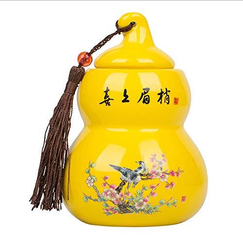 1 cesta de té de cerámica tradicional china con calabaza, portátil, sellado en tarro de viaje