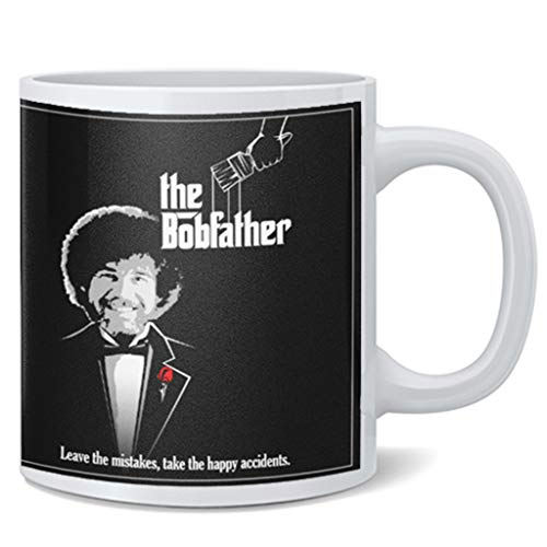 Bob Officially Licensed Ross The Bobfather Leave The Mistakes Take The Happy Accidents Funny Cool Motivational Retro Vintage Style Positive Energy Ceramic Coffee Mug Tea Cup Fun Novelty Gift 12 oz