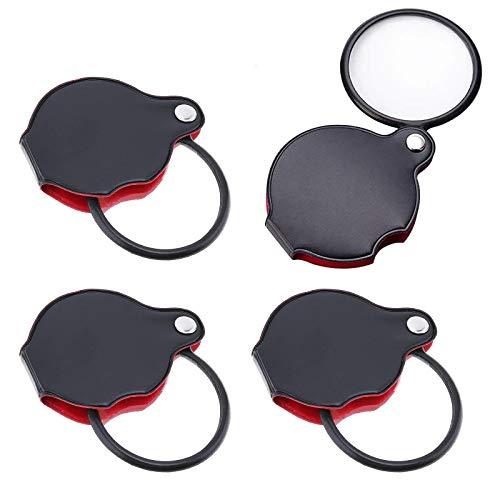 4 piezas Mini Lupa Plegable, Mini Lupa de Bolsillo de 6X, con Protector Giratorio de Cuero, para Pasatiempos de Lectura en la Oficina (60 mm Diámetro)