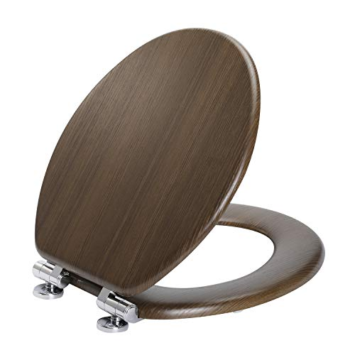 Angel Shield Toilet Seat Molded Wood with Quiet Close Easy Clean Quick-Release Hinges Covering with PVC Wood Pattern(Round,Black)