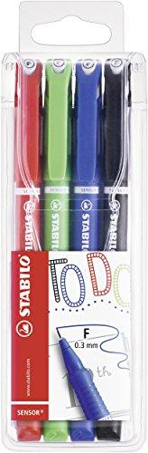 Fineliner mit gefederter Spitze - STABILO SENSOR F - fein - My STABILO Journal - 4er Pack - rot, grün, blau, schwarz