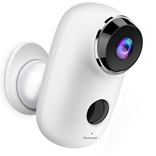 KAMTRON Cloud Akku Überwachungskamera Außen,1080P WLAN IP Kamera Inne Home und Baby Monitor mit PIR Bewegungsmelder, Zweiweg-Audio, IR Nachtsicht, IP65 Wasserdichtes,Push Alarme