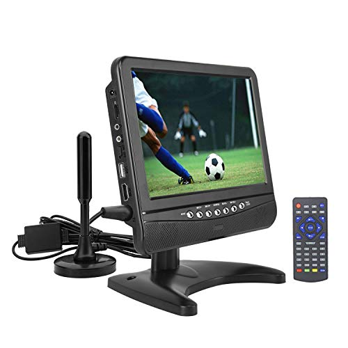 Portable tv 9.5' inch Digital ATSC+NTSC for Digital TV -USB Slot-TF Card Reader/HDMI in Function and Rechargeable Battery (Playtime 3 Hours) Black