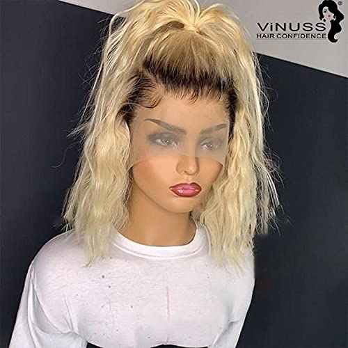 MONSTER LINK 1b/613 Honey Blonde Short Bob Pixie Human Hair Wig Front Lace Wigs Cut Lace Front Human Hair Wigs for Women Remy Brazilian