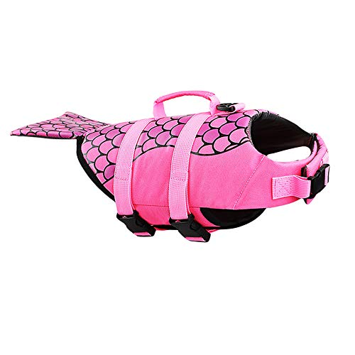 Xnbor Dog Life Jacket,Pet Floatation Life Vest for Small, Middle, Large Size Dogs, Dog Lifesaver Preserver Swimsuit for Water Safety at The Pool, Beach, Boating (XS, Mermaid)