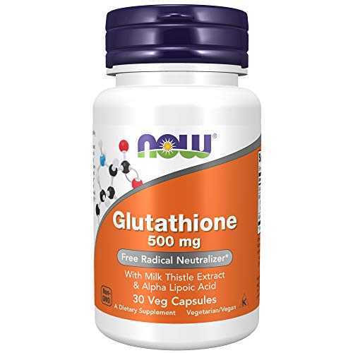NOW Supplements, Glutathione 500 mg, With Milk Thistle Extract & Alpha Lipoic Acid, Free Radical Neutralizer*, 30 Veg Capsules