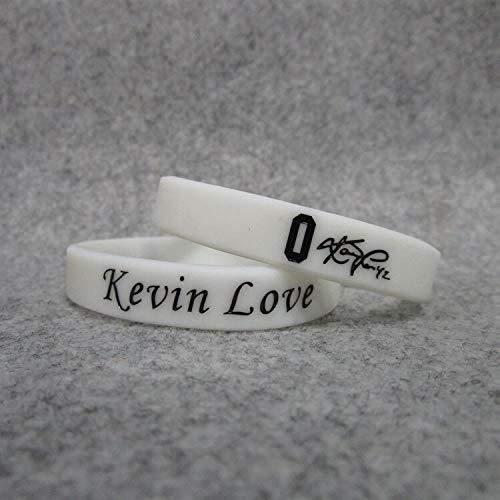 0 Cavaliers Basketball-Star Kevin Love Unterschrift leuchtende Hand Ring Silikon Sport Armband (Color : White, Size : 19CM)