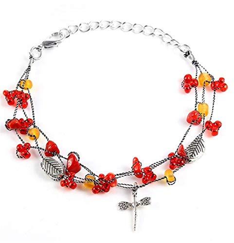 Aya611 Colorida Piedra Triturada Metal Dragonfly Charm Bracelet Multi-Layer Rope Chain 17Cm Rojo