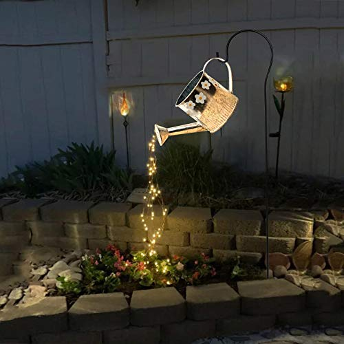 Surfiiiy Gartenlampen Gießkanne Gartengießkanne Licht Lampions, Watering Can Fairy Lights Solar LED Light Garten Deko lampions für Outdoor Garten Hof (A1 Mit Halterung) (E Mit Halterung)