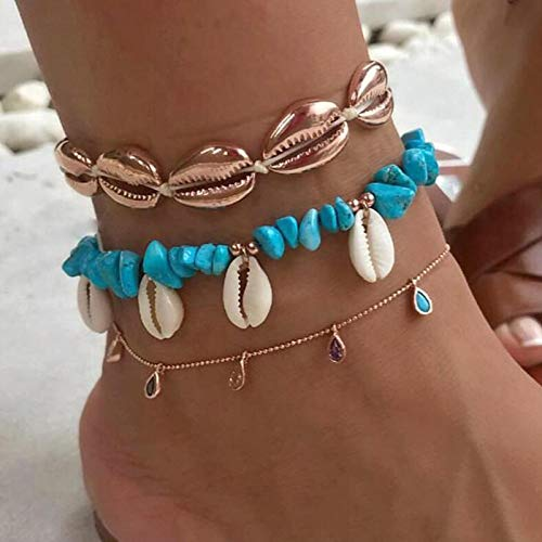 WEIYYY 3 unids/Set Tobilleras de Piedra de Concha para Mujer Playa Cristal pies Cadena de Pierna Accesorios de joyería de Verano, 7073