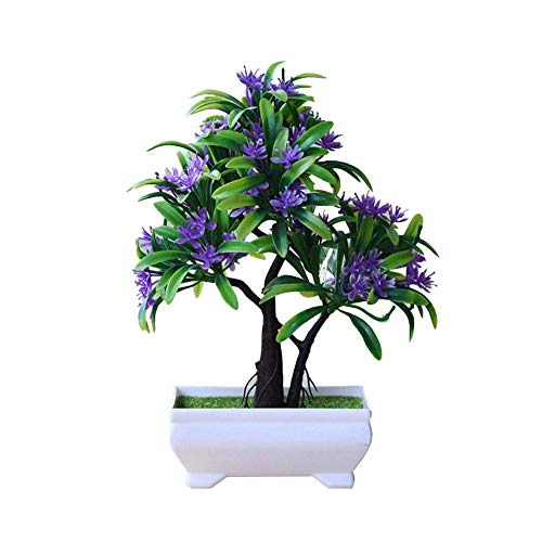 LJYY Artificial Plants Flowers Artificial Bonsai Mini Artificial Tree in Pot Plastic Bushes Pot Flowers Decoration for Office Kitchen Garden Wedding 25 cm High Evening sun-red.