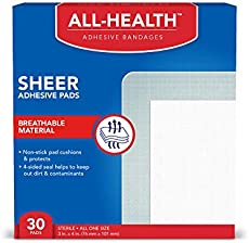 All Health Sheer Adhesive Pad Bandages, 3 in x 4 in, 30 ct | Extra Large Comfortable Protection for First Aid and Wound Care