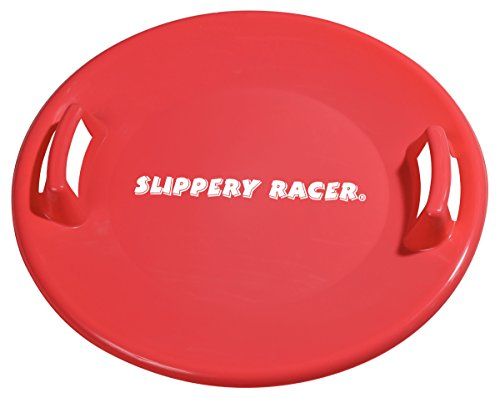 Slippery Racer Downhill Pro Saucer Disc Snow Sled, Red