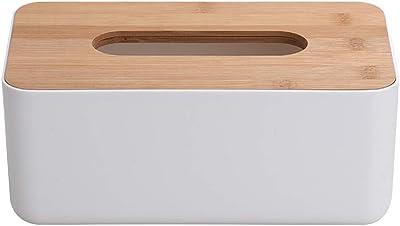 OUNONA ティシュケース ティッシュボックス ティッシュペーパー 収納ケース 竹蓋付き 家庭用 業務用 ホワイト