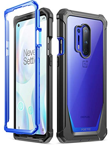 Poetic Guardian Series Case Designed for OnePlus 8 Pro Case, Full-Body Hybrid Shockproof Bumper Cover with Built-in-Screen Protector, Blue/Clear