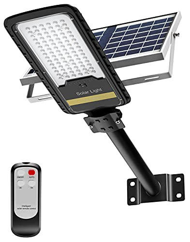 Solar Street Lights Outdoor Lamp, AWANFI LED Security Flood Light 80W Dusk to Dawn IP67 Waterproof Light 1500LM with Remote Control for Yard, Street, Basketball Court, Parking Lot(Bright White)