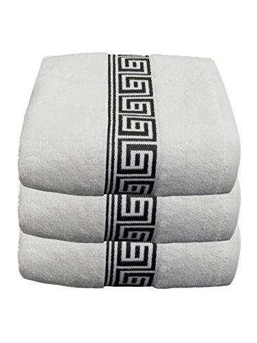Julie Julsen Lot de 3 serviettes de bain sans produits chimiques - 600 g/m² - Coloris blanc et noir - 70 x 140 cm - 100 % coton - Certifié Oeko-Tex Std 100 - Doux et absorbant - Lavable en machine