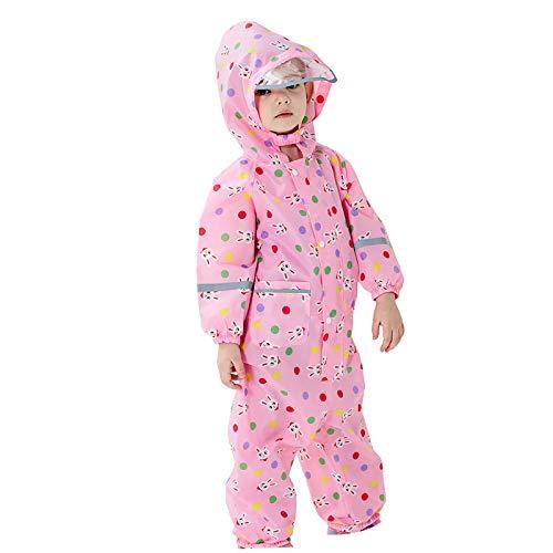 Mancool Regenmantel Kinder Wasserdicht Atmungsaktiv Regenanzug Einteilig Jungen Mädchen Regenjacke mit Reflektor Leicht Overall ohne Geruch