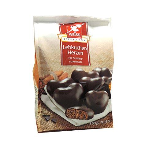 Weiss Lebkuchen-Herzen Zartbitter, 300 g